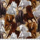 Horse Fabric by the Yard and Half Yard, Horses, Western Fabric, Herd, Stallions, Large