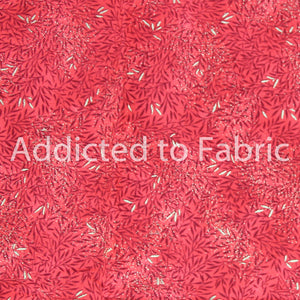 Quilting Fabric by the Yard, Half Yard, Cotton, Metallic Leaves on Red
