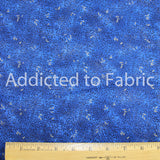 Quilting Fabric by the Yard, Half Yard, Cotton, Metallic Leaves on Blue
