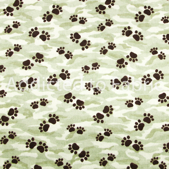 Flannel Paw Prints on Camo Fabric by the Yard, Flannel Camouflage with Paw Prints
