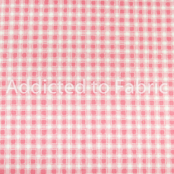 Hamil Textiles Quilting Fabric by the Yard, Half Yard, Pink Checkered Cotton