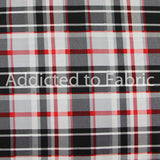 Black, Red and White Plaid, Fabric by the Yard, by the Half Yard, Joann Fabrics, Cotton