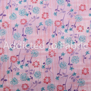 Flowers on Lavender, Quilting Fabric by the Yard, Half Yard, Cotton