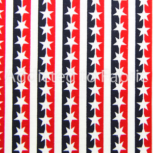 Patriotic Stars and Stripes Fabric by the Yard or Half Yard, Cotton