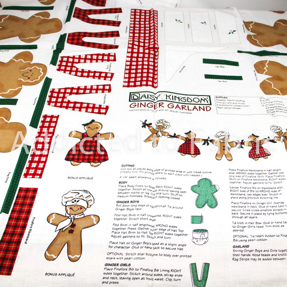 Daisy Kingdom Ginger Garland, Christmas Fabric by the Yard, by the Half Yard, Panel Cotton