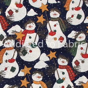 Snowmen with Buttons on Navy Blue Christmas Fabric by the Yard, by the Half Yard
