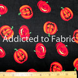 Bright Pumpkins, Halloween Fabric by the Yard, by the Half Yard