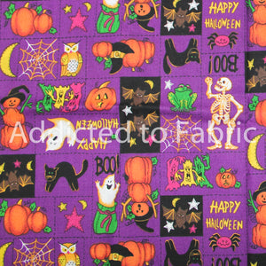 Purple Halloween Fabric by the Yard, by the Half Yard, Halloween Patch
