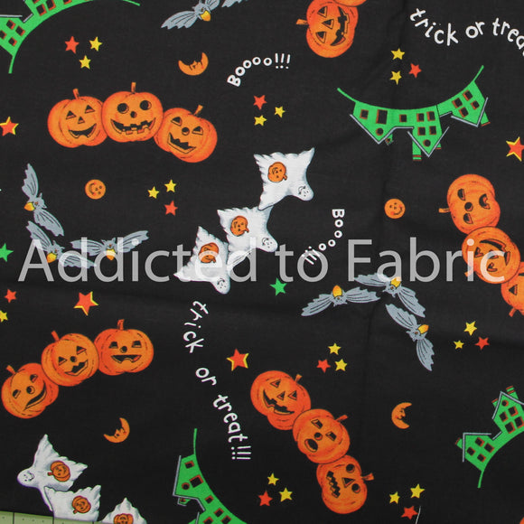 Black Trick or Treat Halloween Fabric by the Yard, by the Half Yard