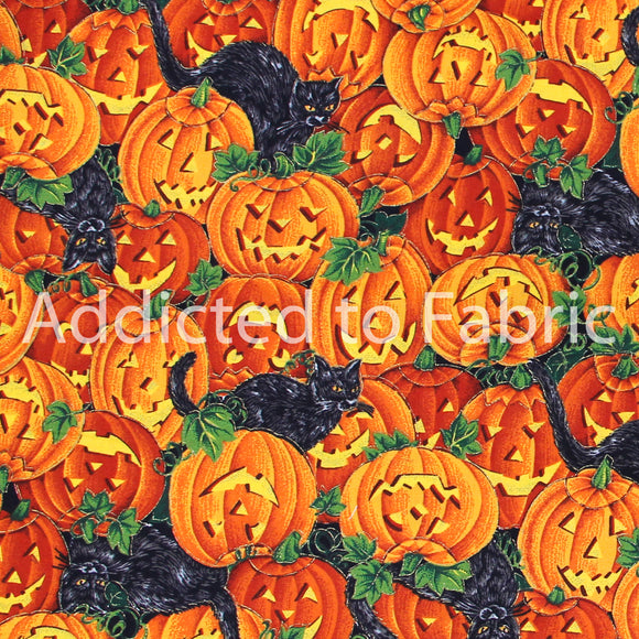 Halloween Pumpkins with Black Cats Fabric by the Yard or Half Yard, VIP by Joan Messmore, Cranston