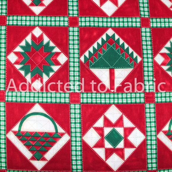 Daisy Kingdom Snuggle Up Quilt Blocks, Christmas Fabric by the Yard, Red Brick