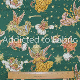 Green and Gold Angels Christmas Fabric by the Yard, by the Half Yard, by Astro Textiles