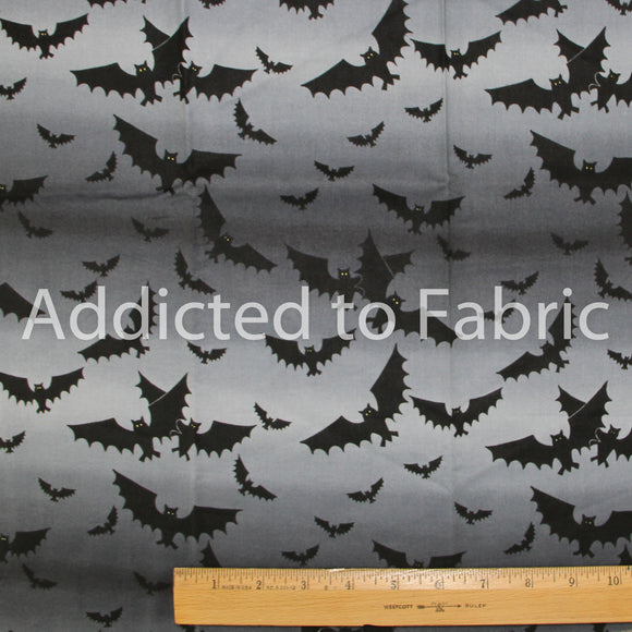 Half Yard Fabric, Halloween Bats on Black and Gray Ombre, Northcott