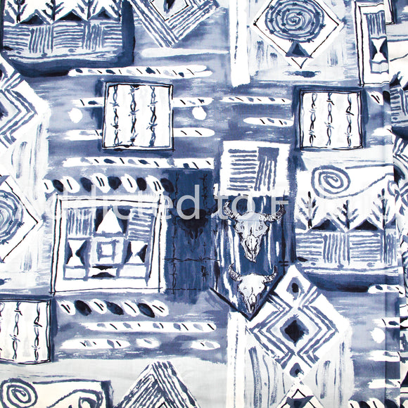 Alexander Henry Collection Fabric, Western Fabric by the Yard, Fabric by the Half Yard Steel Blue