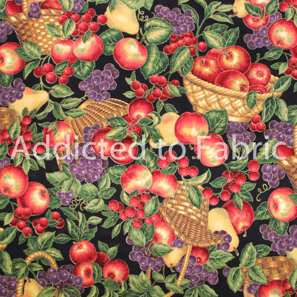 Fruit and Baskets, Cranston Fabric by the Yard, by the Half Yard, Apples, Grapes