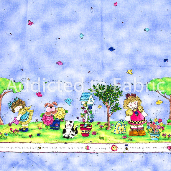 Double Border Fabric by the Yard, by the Half Yard, Tweet Sounds of Spring, Jelly Bean Junction