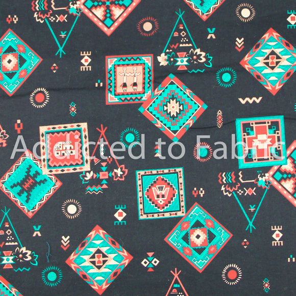V.I.P. Cranston Southwest Fabric by the Yard, by the Half Yard, Black