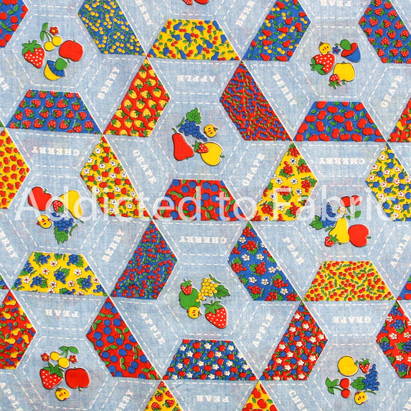 Vintage Ameritex Fabric by the Yard, by the Half Yard, Polyester, Rayon, Fruit
