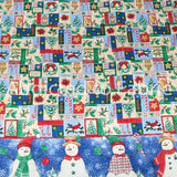 Double Border Christmas Fabric by the Yard, by the Half Yard, Table Cloth