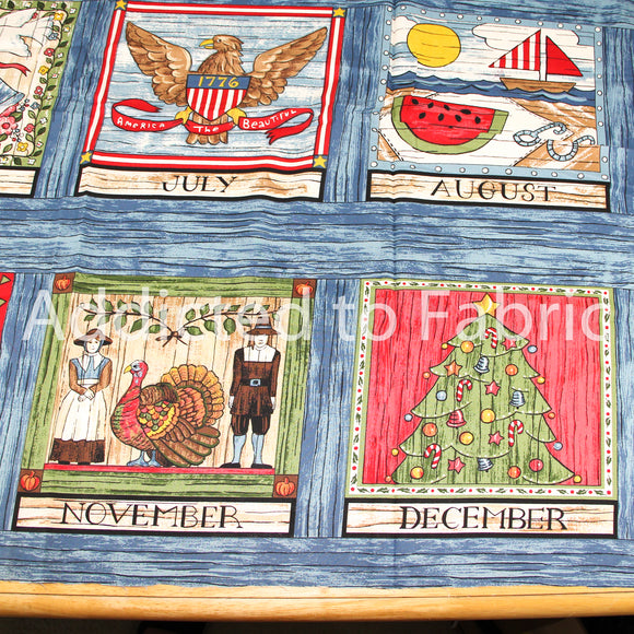 Calendar Wall Panel, Quilt Fabric by the Yard or Half Yard, Seasonal Pot Holders