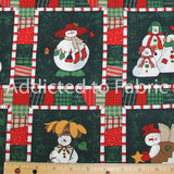 Snowmen on Patchwork Christmas Fabric by the Yard, by the Half Yard