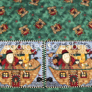 Double Border Noah's Noel, Christmas Fabric by the Yard, Noah's Ark, Debbie Mumm