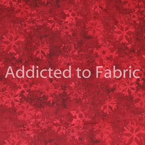 Red Snowflakes on Red, Christmas Fabric by the Yard, Half Yard, Debbie Mumm