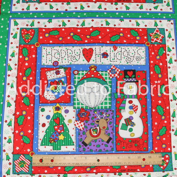 Happy Holidays Christmas Fabric by the Yard, Pillow Panels, Quilting Panels, Blocks