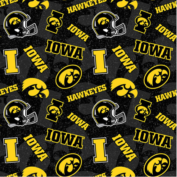 Iowa Hawkeyes Fabric by the Yard, Fabric by the Half Yard, Tone on Tone