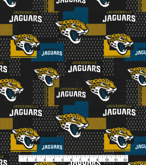 Jacksonville Jaguars Fabric by the Yard, by the Half Yard, Licensed NFL Cotton