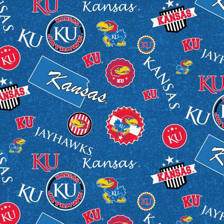 Kansas University Fabric by the Yard or by Half Yard, Jayhawks, Home State