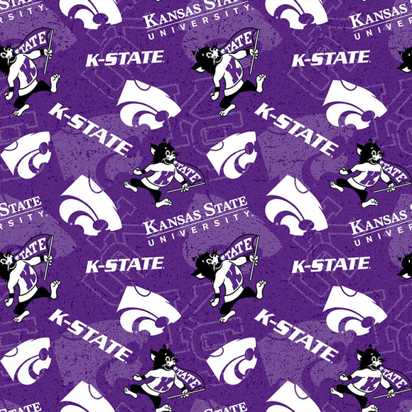 Kansas State University, Wildcats Fabric by the Yard or by Half Yard
