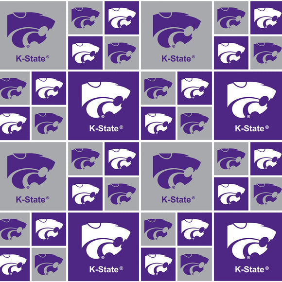 Kansas State University, Wildcats Fabric by the Yard or by Half Yard, Block