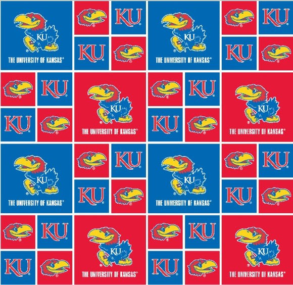 Kansas University Fabric by the Yard or by Half Yard, Jayhawks, Licensed NCAA