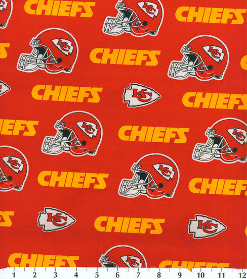 Kansas City Chiefs Fabric by 1/4, 1/2 or Continuous Yard(s), Licensed NFL Fabric