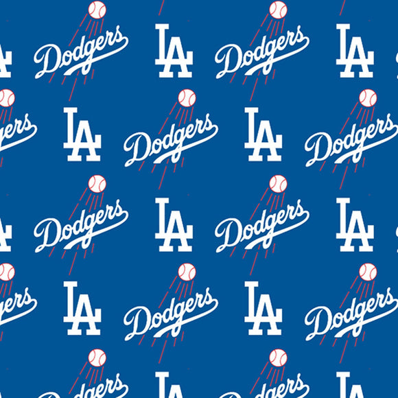 Los Angeles Dodgers Fabric by the Yard or Half Yard, Licensed MLB, Cotton