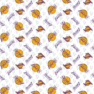 LA Lakers Fabric by the Yard or Half Yard, NBA Licensed Fabric, Cotton