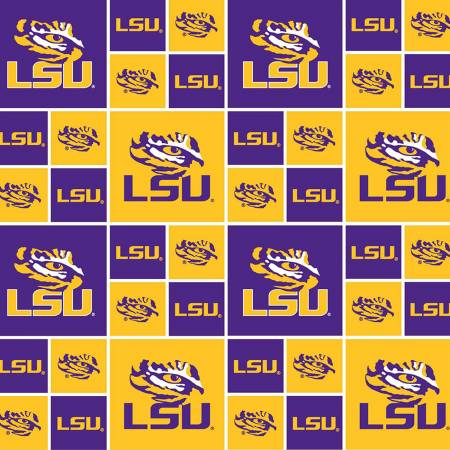 LSU Tigers Fabric by the Yard and Half Yard, Louisiana State University Licensed NCAA Fabric,