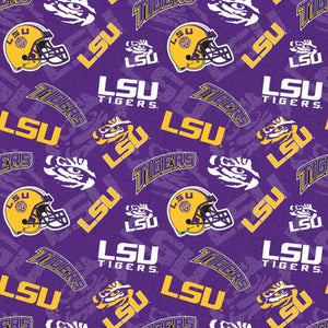 LSU Tigers Fabric by the Yard and Half Yard, Licensed NCAA Fabric, Tone on Tone