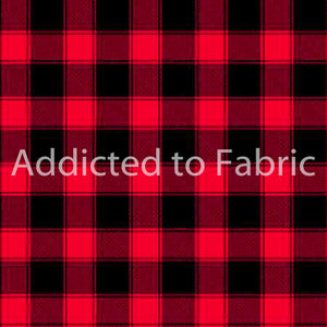 "Red and Black 1"" Buffalo Plaid Fabric by the Yard and Half Yard, Timeless Treasures"