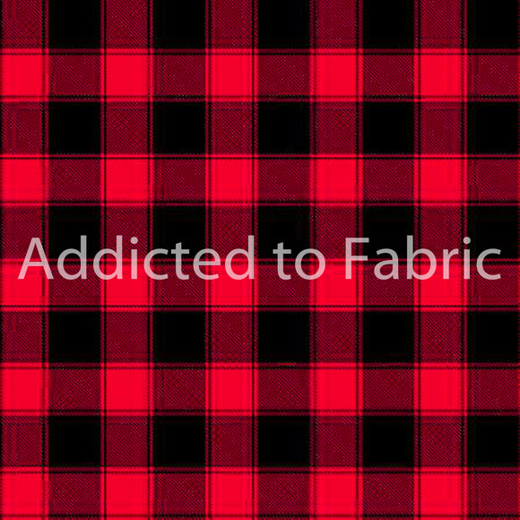 Large Red and Black Buffalo Plaid Fabric by the Yard and Half Yard, Timeless Treasures 1