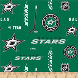 Dallas Stars Fabric by the Yard, Half Yard, NHL Cotton Fabric, Hockey, NHL Sports