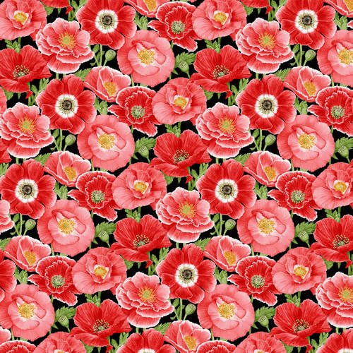 Large Poppies Fabric by the Yard or Half Yard, Henry Glass, Poppy Meadow