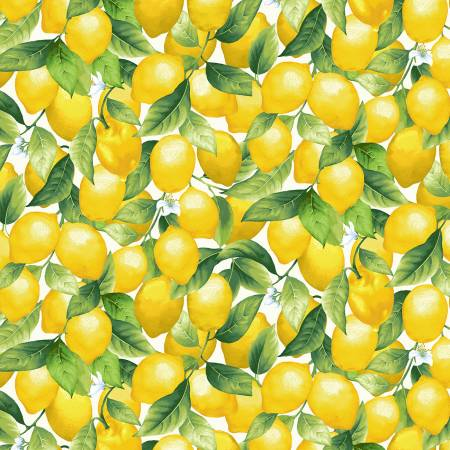 Lemons on Cream Fabric by the Yard or by the Half Yard, Splash of Lemon