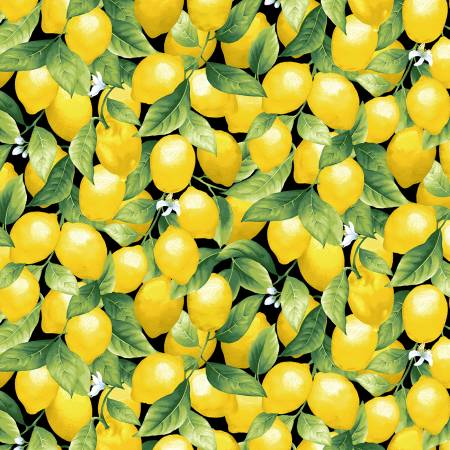 Lemons on Black Fabric by the Yard or by the Half Yard, Splash of Lemon