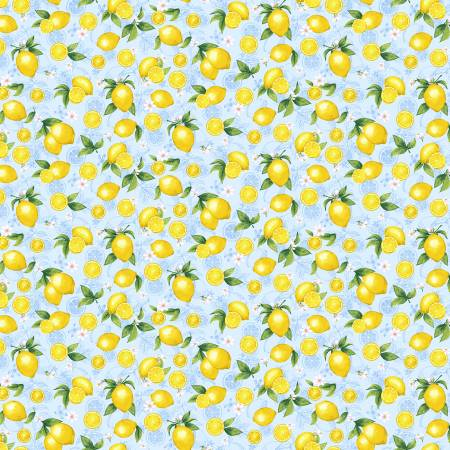 Small Lemons on Blue Fabric by the Yard or Half Yard, Splash of Lemon