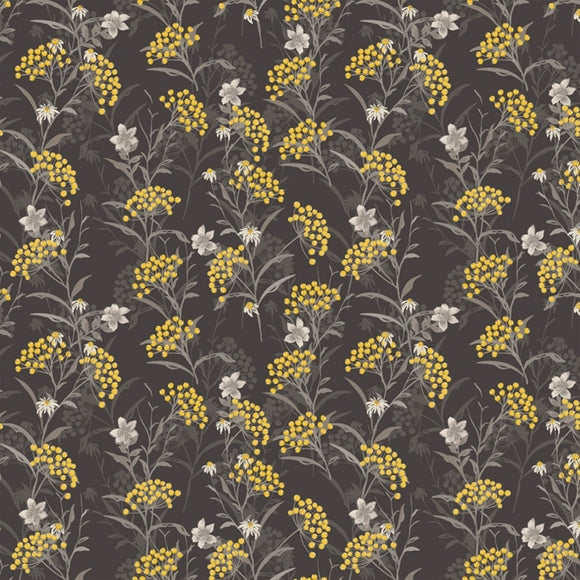 Marguerite, Button Flower, Fabric by the Yard, by the Half Yard, Charcoal