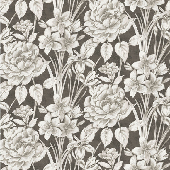 Marguerite, Large Floral Fabric by the Yard, by the Half Yard, Charcoal