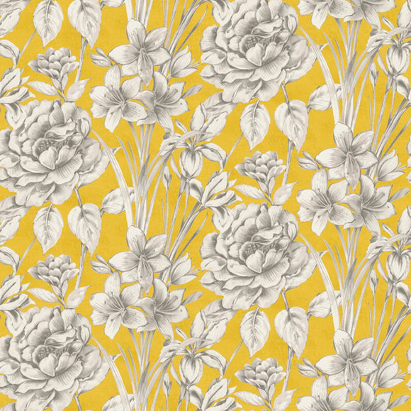 Marguerite, Large Floral Fabric by the Yard, by the Half Yard, Goldenrod