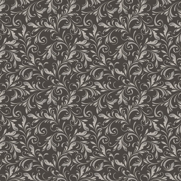 Marguerite, Scroll, Fabric by the Yard, by the Half Yard, Charcoal
